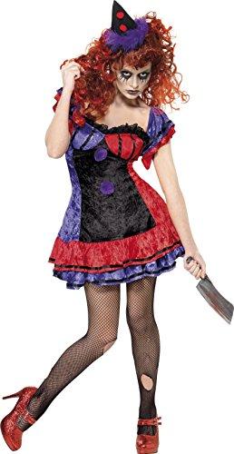 Smiffys Clownkostüm für Damen Clown Bobo Kostüm Bobokostüm BO BO zu Halloween Halloweenkostüm Horror Zirkus Gr. 36/38 (S), 40/42 (M), 44/46 (L), Größe:L