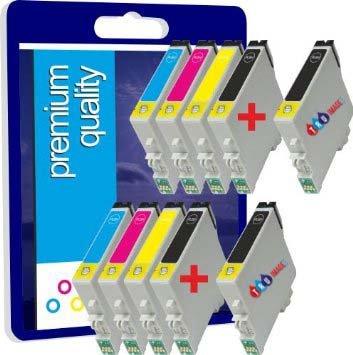 10 Haute Capacité Premium Qualité 100% Compatible 17ML cartouches d'encre pour Epson Stylus C64 C84 CX6400 C66 C86 CX6600 CX3600 CX3650 CX4600 TO441 TO442 TO443 TO444 TO445 (4noir+2cyan+2magenta+2jaune)