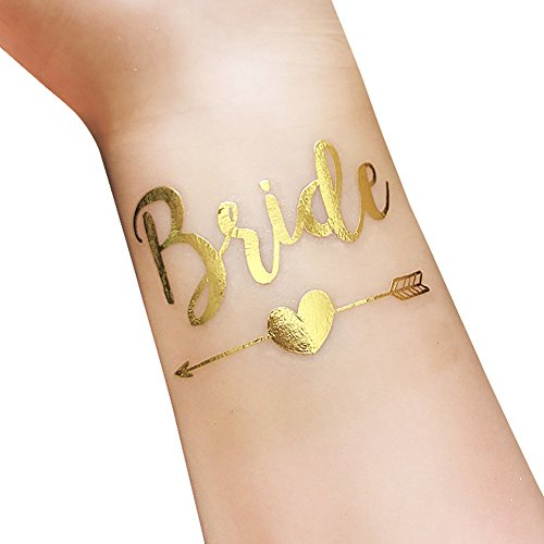 Bachelorette And Bride Tribe Temporary Tattooswaterproof Festival Tattoos Metallic Shiny Gold Tattoos12 Pack Bride Team Bride T18 T19