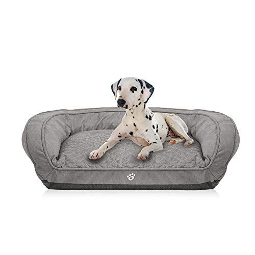 FRISTONE Waschbar Hundebett für kleine und große Hunde Hundekorb Weich mit Reißverschlüssen Komplett entfernen L XL Grau Braun Grau