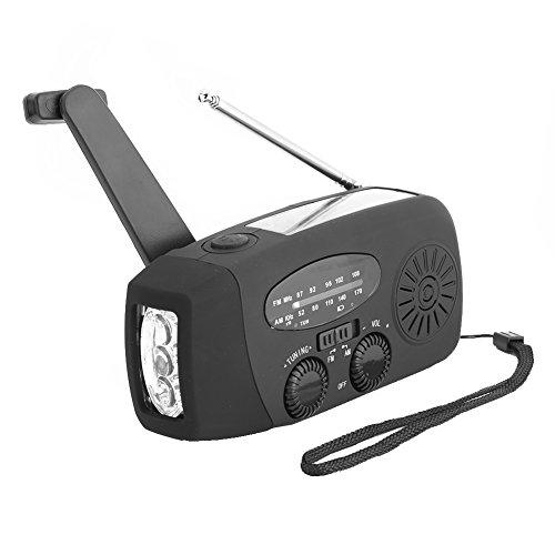 Zerone Solarbetriebener Handkurbel-Radio, Notfallwetter-Warnungs-Radio AM/FM Solarradio mi