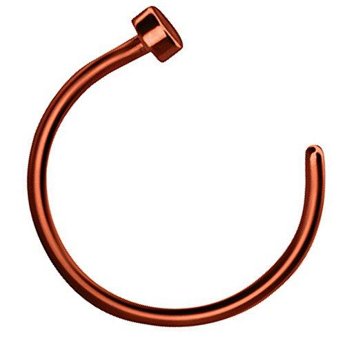 Piersando Fake Piercing Hoop Ring Clip On Klemmring für Septum Tragus Helix Nase Lippe Ohr Intim Nippel Brust Hufeisen Coffee 1,0mm x 10mm (Ring Braun Septum)