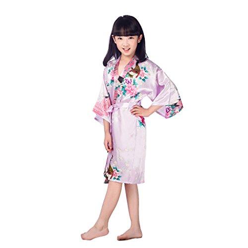 Morgenmantel Kinder Mädchen Kimono Robe Satin Seide Weiche Blossom Peacock Bademantel Nachtwäsche Brautkleid Kleid Robe XL (Blossom Bademantel)