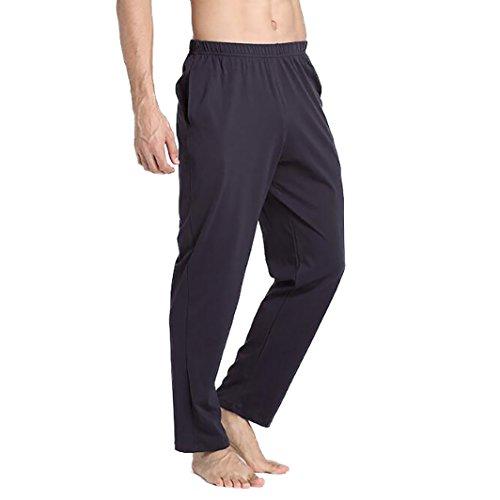 8142b5353eec VENI MASEE Männer 100% Baumwolle Reine Farbe super weiche Pyjama Hosen Yoga  Hosen - Dunkelgrau - XL
