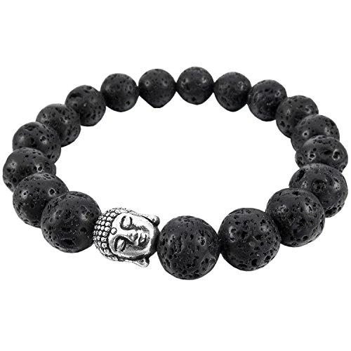 Modisches Energie Armband 10 mm | Unisex Metall Legierung Armband mit Buddha Motiv | Elegant Schwarz Silber Armreif