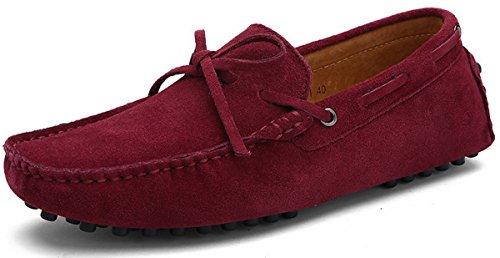 ins Schuhe Hausschuhe Slipper Wildleder Loafer Bootsschuhe Segelschuh Flache Casual Freizeitschuh Slip-on Fahrenschuhe Für Männer Jungen Sommer Leder Rotwein Rot 43 (Die Roten Stiefel Männer)