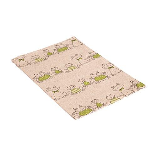Vaitkute 216046 - Set di 2 asciugapiatti Frosch misto lino con stampa motivo: rane 50% lino e 50% cotone lavabili a 40º 240 g/ m2 47 x 70 cm colore: naturale/verde