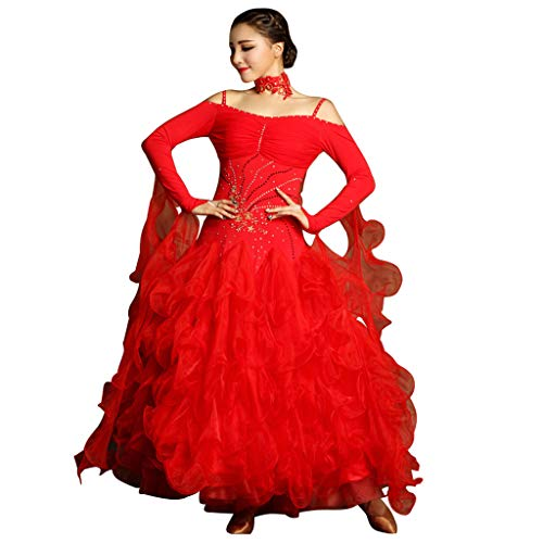 Hot Latin Kostüm Dance - LRR Ballroom Dance Outfit Damen Wettbewerbskleider Hot Drilling Collars , Modernes Walzer-Kleid Kostüm Schultergurte (Farbe : Red, größe : M)