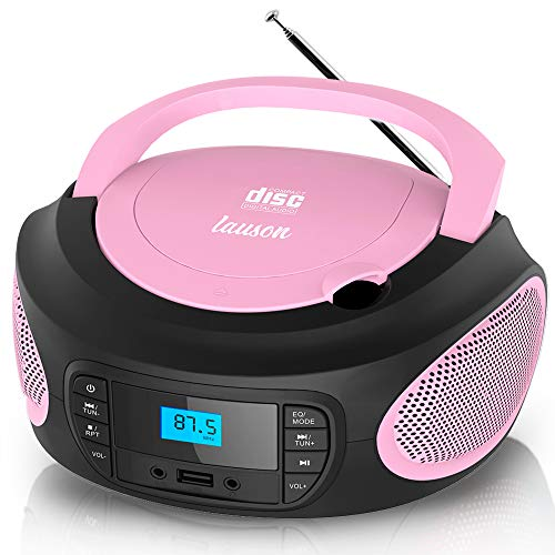 Lauson LLB995 Tragbarer CD-Player, CD-Radio, Boombox, CD Player für Kinder, kinderradio mit cd und USB, Stereoanlage, LCD-Display, Netz & Batterie, Pink, Rose