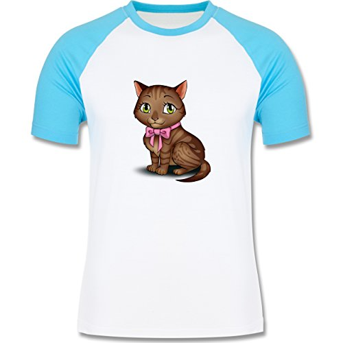 Katzen - Kätzchen mit Schleife - zweifarbiges Baseballshirt für Männer Weiß/Türkis