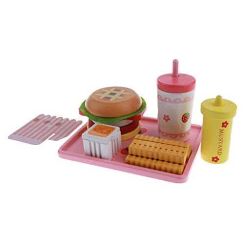 Homyl 6er/Set Kinder Spielküche Holz Lebensmittel Spielzeug, Inkl. Pommes Frites, Hühnchen-Nuggets, Hamburger, Hot Dog, usw. - # B (Hot-dog-toy-essen)