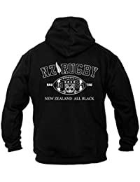 Dirty Ray Rugby New Zealand All Black Sweat homme avec capuche B2