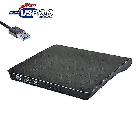 Extern High Speed CD DVD Laufwerk / IVIDZ Flaches und portables USB 3.0 External Laufwerk CD RW/ DVD RW/CD ROM/ DVD ROM Drive / Writer / Rewriter / Brenner / Leser für Apple Macbook Pro/Air, Windows PC, Desktops und