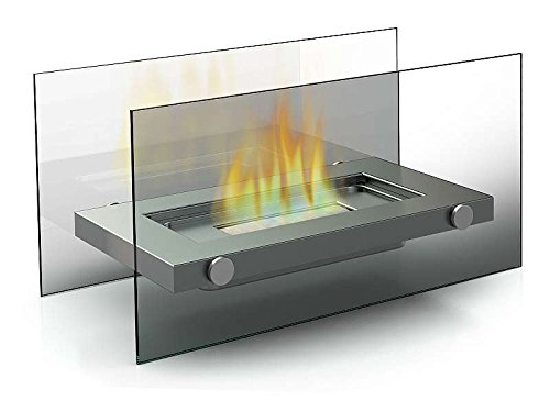 Edelstahl Design Bio-Ethanol Tisch-Kamin für Innen und Außen Glaskamin Dekofeuer (Kamin-Maße ca. 34 x 16 x 17 cm)