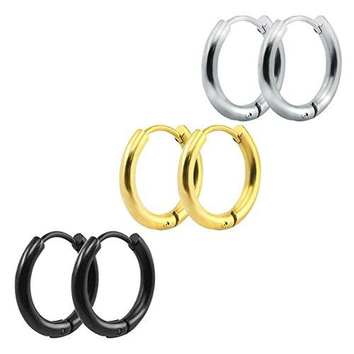 8ce3a5948805 3 pares de acero inoxidable de 10mm pequeños pendientes de aro pulido Huggie  oído cartílago pendiente