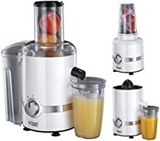 Russell Hobbs 22700-56 3 in 1 Ultimativer Entsafter, Zitruspresse, Smoothie Maker mit Impuls-/Ice-Crush-Funktion