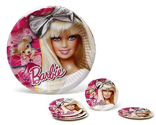 Atosa-Atosa-17148-pack 5 Platos 20.5 cms Barbie, Color Fucsia (17148)