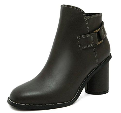 LINYI Damenschuhe Runde Kopf Chunky Heel High Heels Weibliche Neue Wild Side Schnalle Reißverschluss Damen Stiefel Ankle Boots,Green-40 (Reißverschluss Schnalle)