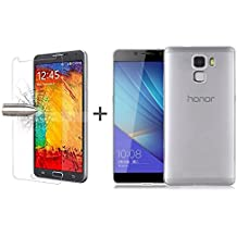 TBOC® Pack: Funda de Gel TPU Transparente + Protector Pantalla Vidrio Templado para Huawei Honor 7. Funda de Silicona Ultrafina y Flexible. Protector de pantalla Resistente a Golpes, Caídas y Arañazos.