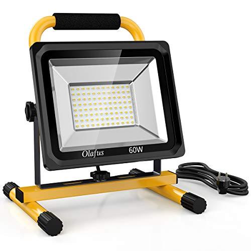 Olafus Foco LED Trabajo 60W 6000LM con Soporte, Equivalente a 400W Halógeno, Proyector LED Blanco Frío 2 Modos de Brillo, IP65 Impermeables para Exteriores y Interiores, Sitio de Construcción, Taller