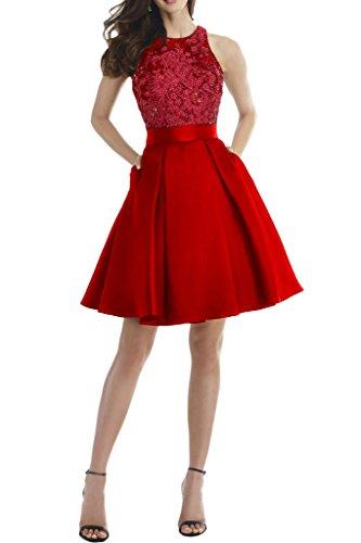 Milano Bride 2017 Neu Charment Abendkleider Promkleid Abschlusskleider A-Linie Kleider Spitze Rueckendrei Kurz Rot