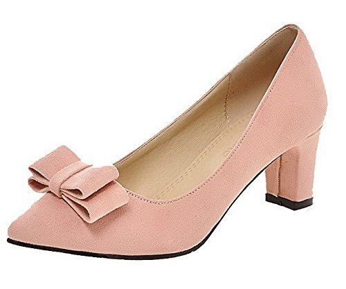 AgooLar Femme Tire Pointu à Talon Correct Suédé Couleur Unie Chaussures Légeres Rose