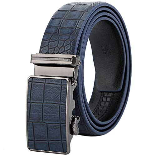 Rejilla Celosía Cheque A Cuadros Cocodrilo Cheque Cinturones Hombres Cuero Piel Vaca Hebilla Automática Caja Regalo Cinturón Men Gift Box Lattice Grid Check Plaid Belt Azul Marrón Negro 110-130 Cm