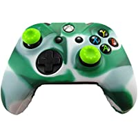 Pandaren® Pelle cover skin per il Xbox One controller(bianco verde) x 1 + pollice presa x 2
