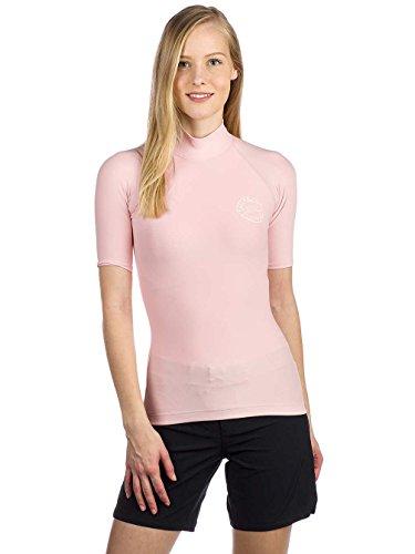 BILLABONG Damen Logo Color Short Sleeve Schnell Dry Leicht Rash Vest Top Blush - Neopren - Taillen - Band -
