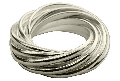 SILBERMOOS XL XXL Ringe in großen Größen Damenring Mehrfachring 12 Einzelringe glänzend Sterling Silber 925 Größen 64, 66, 68, 70, Größe:68 (21.6)