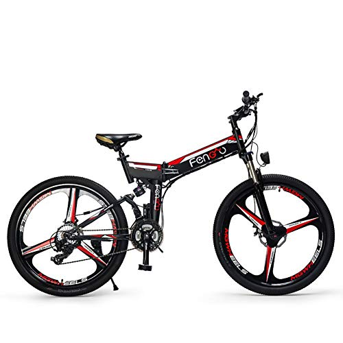 FJW Unisex Mountain Bike elettrica, 26 Pollici E-Bike Pieghevole con Ruota Super Leggeri in Lega di magnesio 3 Raggi Integrata, Dual Suspension e Shimano 24 Speed Gear per Commuter City