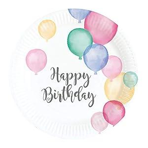 amscan 9903709 Happy Birthday - Platos (8 Unidades), Color Pastel