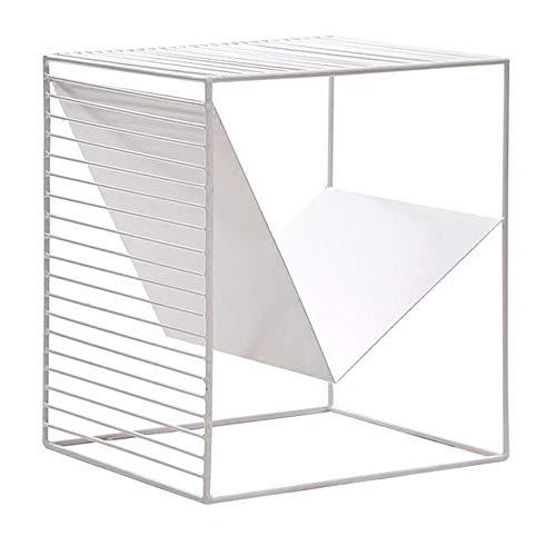 FEI Table d'appoint, table d'appoint moderne avec étagère de rangement Petite étagère de rangement carrée Table d'appoint Table de chevet Table de chevet Noir-Blanc (Couleur : Blanc)