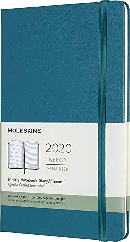 Moleskine - Agenda Semanal de 12 Meses 2020, Tapa Dura y Goma Elástica, Color Verde Magnético, Tamaño Grande 13 x 21 cm, 144 Páginas