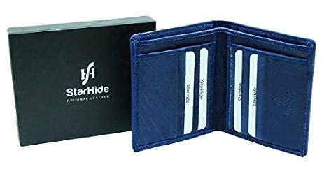 StarHide® Herren Designer Luxus Jeans & Leder Blau Brieftasche Mehrere Kartentaschen - Geschenkbox #605