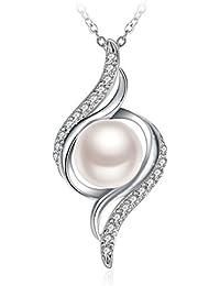 J.Rosée Collar Mujer, Collar Perla Plata de Ley 925 Brillante Circonita con Hermosa Caja