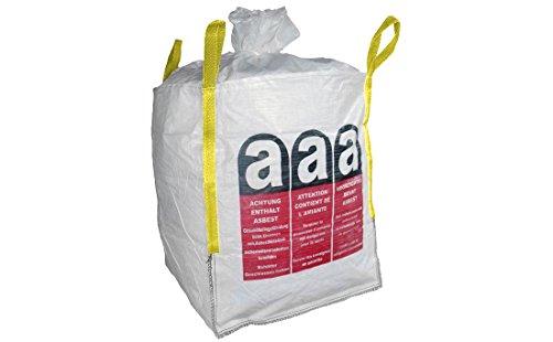 Colorus BigBag Asbest Sack 90 x 90 x 110 cm   Entsorgungs-Sack bis 1000 kg belastbar   Gewebesack mit Schürze und Verschlussband   4 Hebeschlaufen, UV beständig   BigBag aus PP Bändchengewebe
