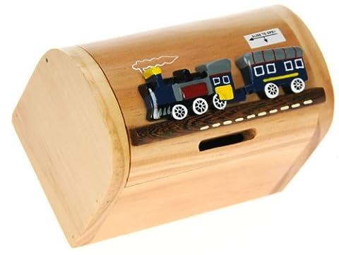 Train à vapeur Bleu : Fabriqué à la main tirelire en bois avec serrure secret! Cadeau fantastique pour Noël ou anniversaire. Haute qualité traditionnelle cadeau de Noël pour les enfants ou les adultes. (Taille 17 x 13 x 5