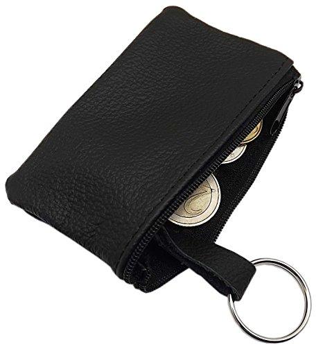 Echt Leder Schlüsseltasche 1 Fach MJ-Design-Germany Made in EU in Schwarz oder Rot (Schwarz)