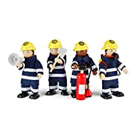 Tidlo Wooden Firefighter Figures Set with Accessories