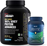 GNC Amp Gold Series 100% Whey Protein Advanced - 4.4 lbs, 2 kg (Vanilla Ice Cream) and Triple Strength Fish Oi
