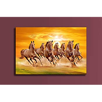 MPRO-TECH UV Print Realistic Digital Seven Running Horses Painting for Home vastu Shastra Big Size 135 cm x 90 cm