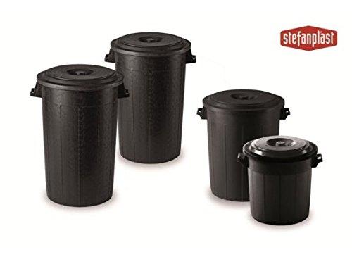 Bidone immondizia resina con coperchio nero lt.100