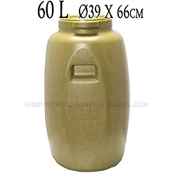 BIDON PLASTICO 60 LITROS. Garrafa con medidas Ø39 x 66 cm. Depósito de peso aproximado 3 Kg. Fabricado en España.