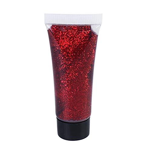 Baoblaze Glitter Kleber Farbe 10 ml für Gesicht, Körper & Haar Festival, Halloween, Kostüm Stage Makeup Party Supplies - rot (Haare Halloween-make-up Rote)