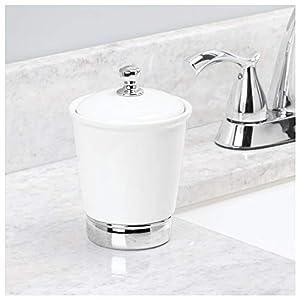 InterDesign – York – Bombona de cerámica, para tocador del cuarto de baño; para productos de belleza – grande – Blanco/cromado