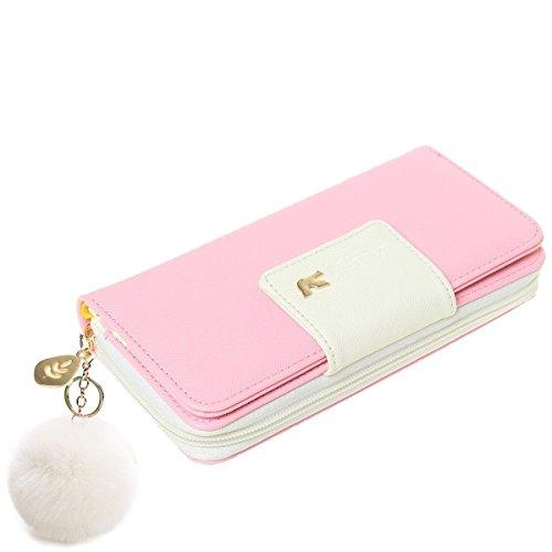 anima Multi-Card Position Zwei Falten Lange Reißverschluss Geldbörse Handhandtasche Vögel Muster (Rosa) ()