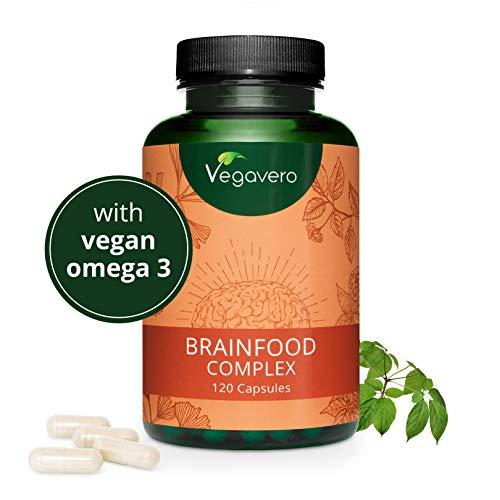 VEGAVERO® Gehirn Booster - Brainfood Complex | Nervensystem* - Energie* - Psyche* | VEGAN | Mit Omega-3, Koffein und B-Vitaminen | Ohne Zusatzstoffe | Laborgeprüft | 120 Kapseln