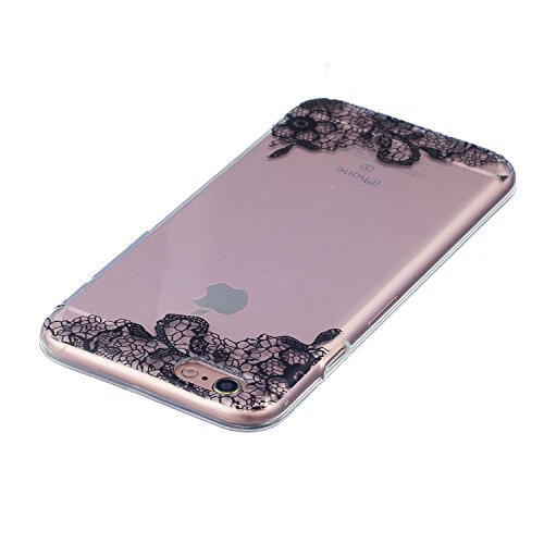 iPhone 6 Plus/6S Plus Hülle, Voguecase Silikon Schutzhülle / Case / Cover / Hülle / TPU Gel Skin für Apple iPhone 6 Plus/6S Plus 5.5(Seehund) + Gratis Universal Eingabestift Schwarz Lace Blume