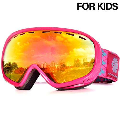 Snowledge Skibrille Kinder, Ski Goggles Kids Snowboard Brille Sphärische Doppelscheibe 100% UV-Schutzbrille Anti-Beschlag 3-Lagige Schaum für Kinder von 6-13 Jahren(Rot-Orange)